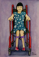 Portrait of Melissa Shang smiling, sitting in her wheelchair. Created by Chelle Destefano.
