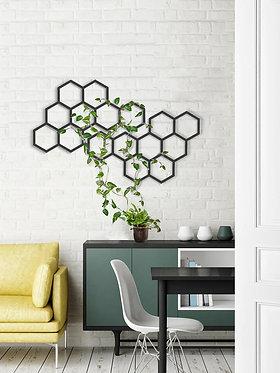 hexagonal metal wall hanging modular trellis wall decor | wall art