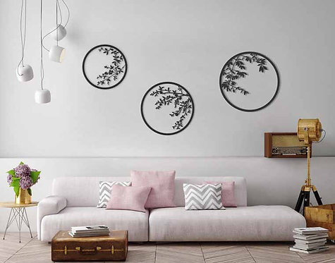 set of 3 circles wall art leaves and branches | design accessories