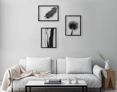 Set of 3 plants metal wall art wall decor | home style