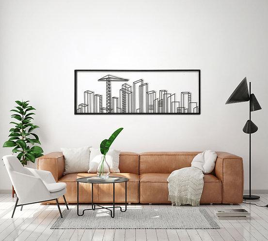 תמונת בניינים רוחבית ממתכת מעל ספה