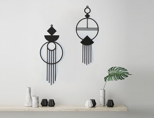 זוג אלמנטים לעיצוב הקיר | עיצוב הבית | עיצוב לקיר ממתכת