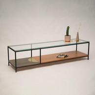 שולחן בשילוב מתכת עץ וזכוכית