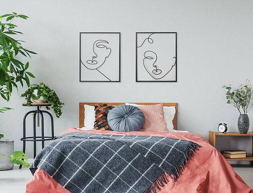 זוג תמונות גדולות של איש ואישה לחדר שינה