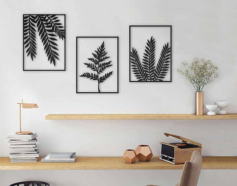 set of 3 plants leaves wall art | home style