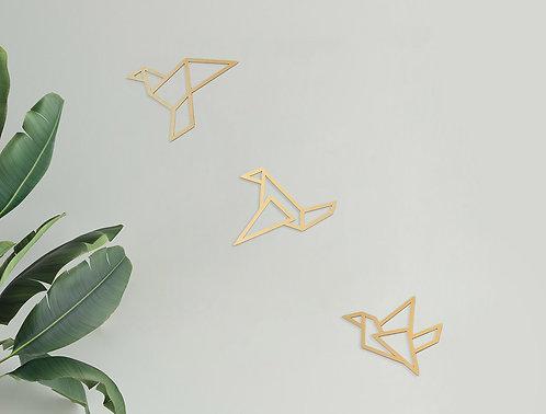 שלישיית ציפורי אוריגמי זהב V1
