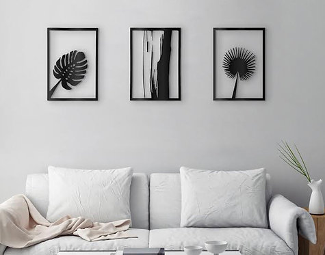 above sofa plants metal | wall art