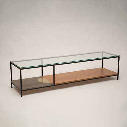 שולחן בשילוב עץ מתכת וזכוכית