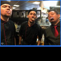 kitchen staff eating