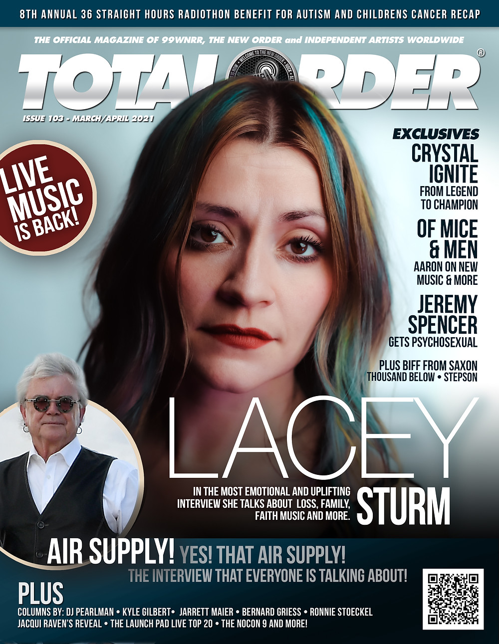 THE HOTTEST NEW ROCK PUBLICATION AROUND! Total Order Magazine RETURNS with a JAM PACKED March/April issue! From icon's in the industry to the up and coming talent taking over the airwaves. in this issue, EXCLUSIVE INTERVIEWS WITH Lacey Sturm, Of Mice & Men, Biff from Saxon, Jeremy Spencer from PsychoSexual, Air Supply's Russell Hitchcock and MORE!    The most comprehensive publication on Independent Music from around the world. There is something for everyone, fans, listeners and musicians.