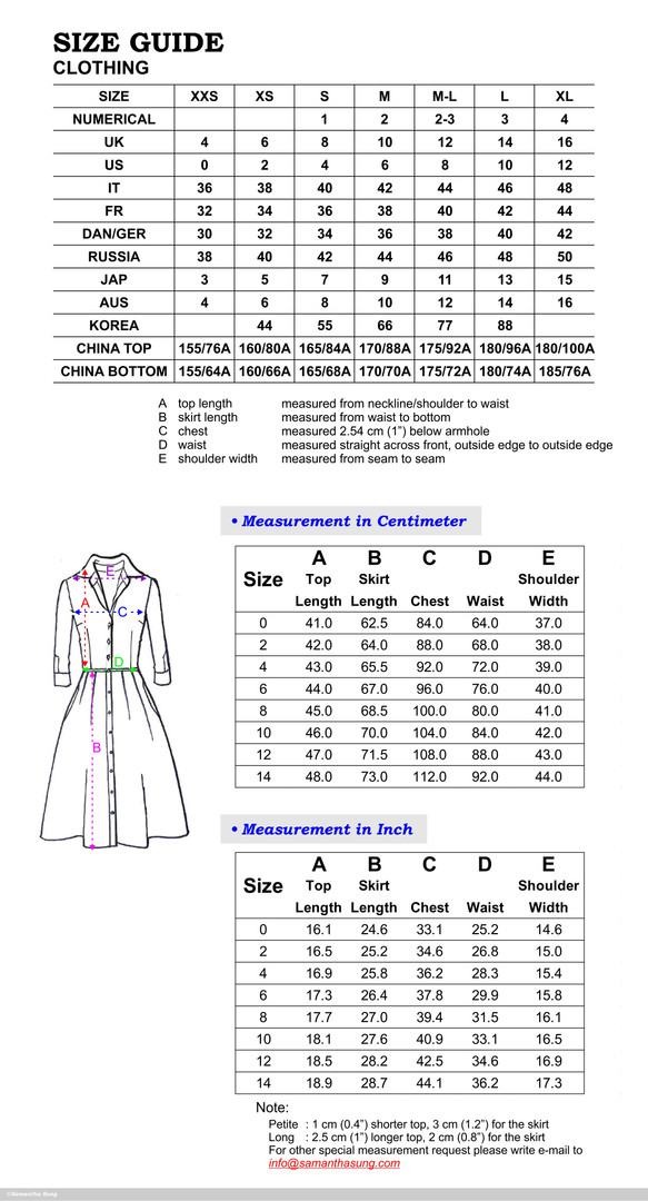Audrey Dress Sizing Chart