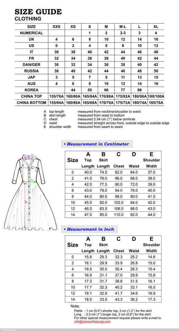 Aster Dress Sizing Chart