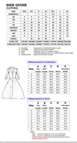 Aster Dress Sizing Chart