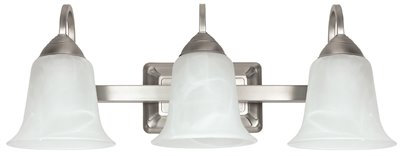 3-Light Vanity Fixture Brushed Nickel Vanity w/ Alabaster Glass