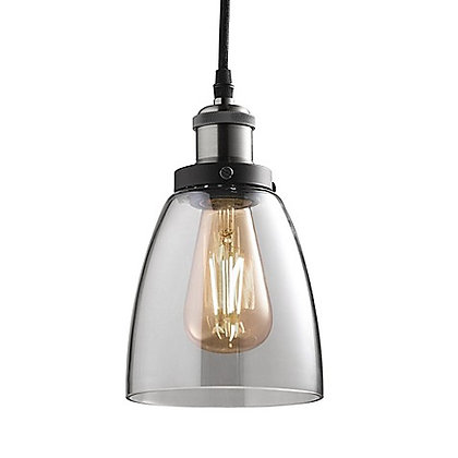 """LED Vintage 5.7"""" Shade, Clear Glass, Nickel Finish, Includes bulb"""