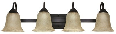 4-Light Vanity Fixture Oil Rubbed Bronze w/ Antique Scavo Glass