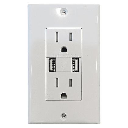 Decorative Tamper Resistant Duplex USB Charger White