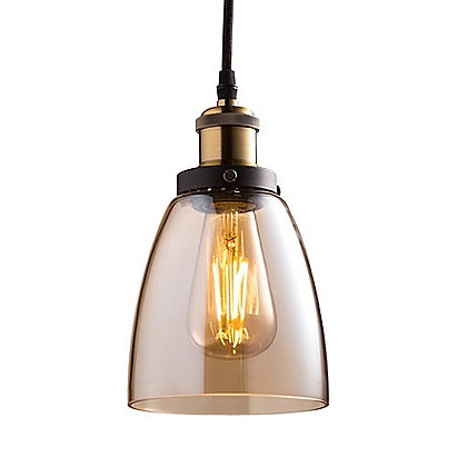"LED Vintage 5.7"" Shade, Amber Glass, Nickel Finish, Includes bulb"