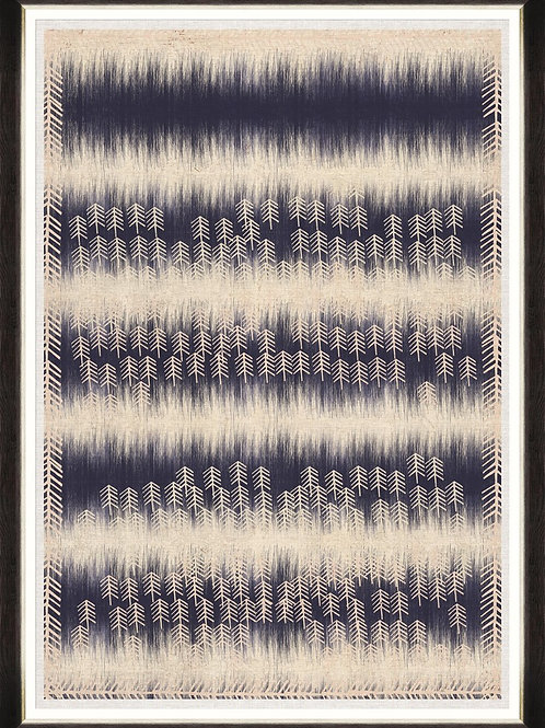 Framed Printed Linen - Indigo Patterns II