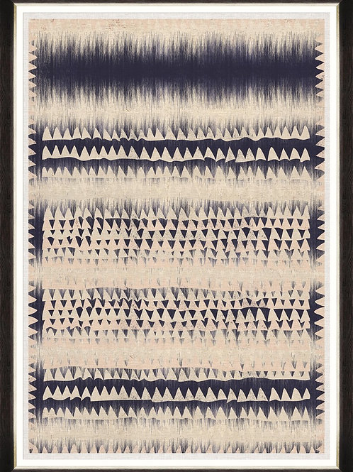 copy of Framed Printed Linen - Indigo Patterns I