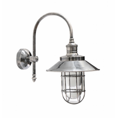 Indoor/Outdoor Pewter Cage Wall Light With Shade IP54