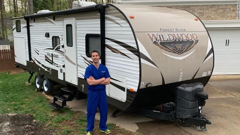 Mark Quale, an emergency physician, is able to isolate himself from his family thanks to Facebook group RVs for MDs.