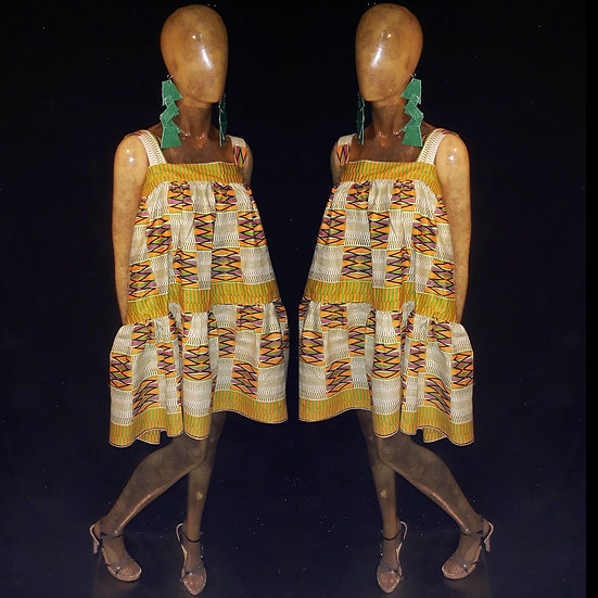 Two tier  lightweight African print  dress with straps.