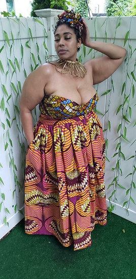 Bustier top no sleeve/skirt