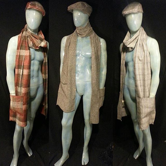 mens/womens wool and silk scarf and cap set