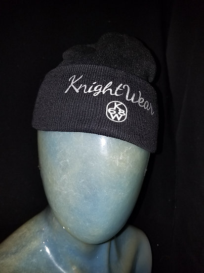 Black and silver Knightwear68 knit hat