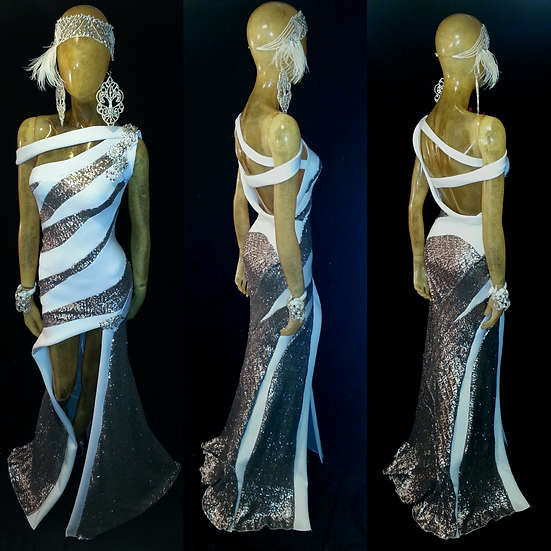 Silver sequins and White neoprene gown