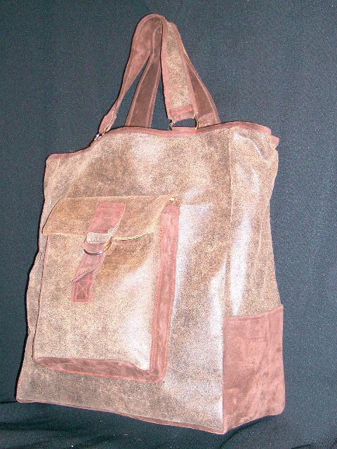 choco brown leather and suede tote