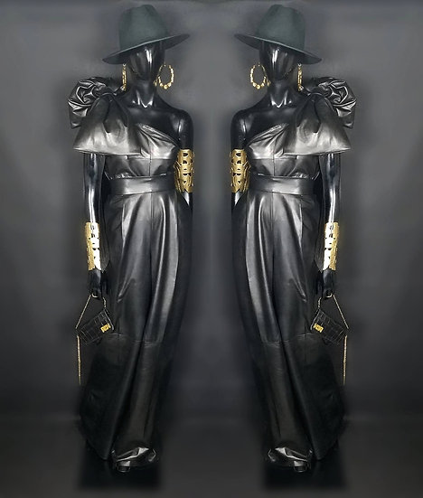 Leather wide leg  trousers