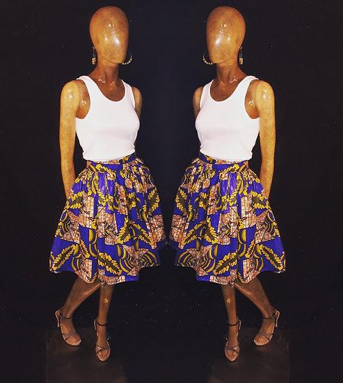 Waxed  cotton African print skort