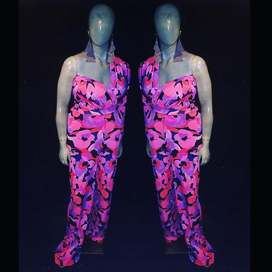 Floral print one sleeve jumpsuit