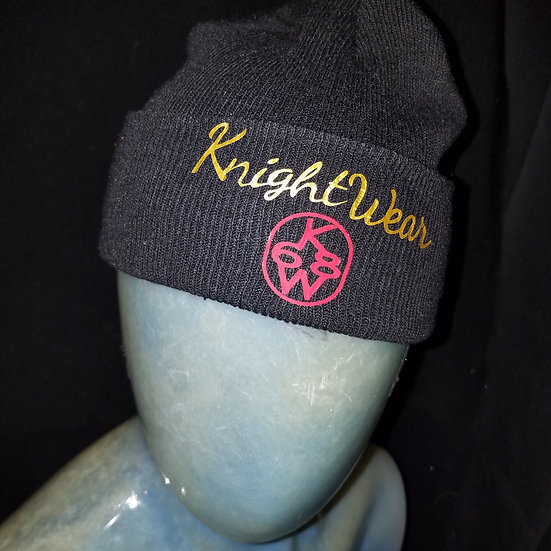Black gold and red knightwear68 knit hat