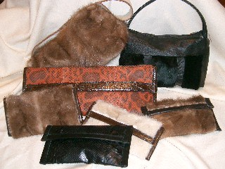 pyton and fur bags and clutches