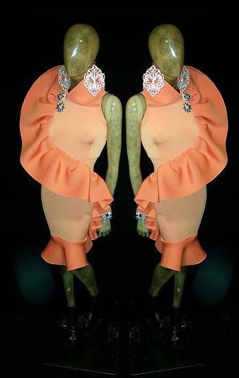 citrus orange fitted ruffle dress