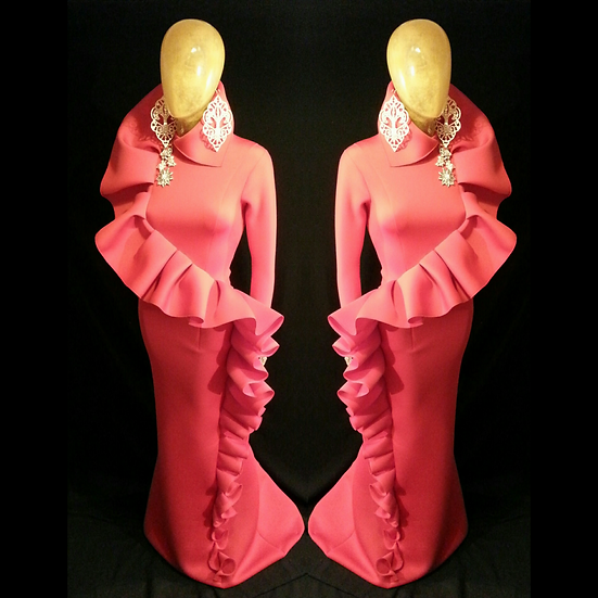 Enigma... red neoprene long sleeve ruffled  gown.