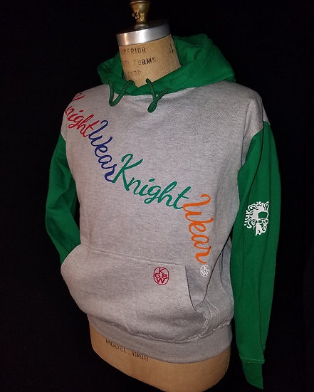grey, green and multcolor hoodie