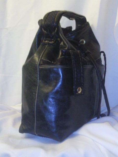 leather and python barrel bag