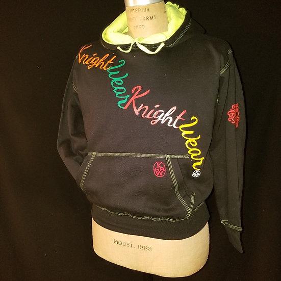 black and multicolor hoodie
