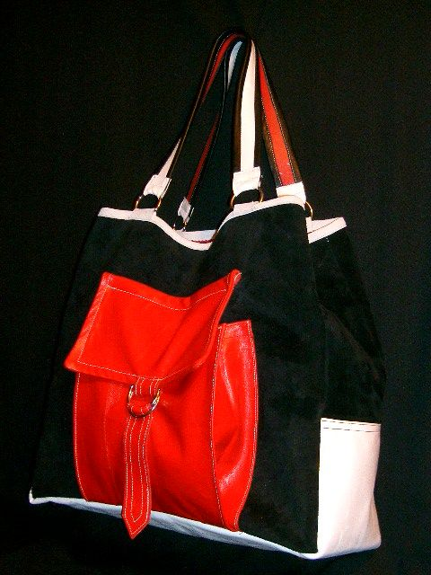 bk/white/ red leather & suede tote