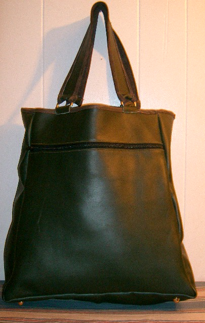 emerld green leather shopper