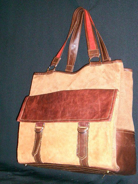 leather and  suede tote.