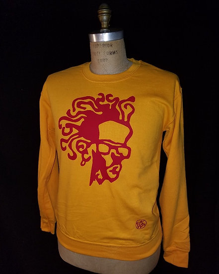 gold and red medusacrewneck sweatshirt