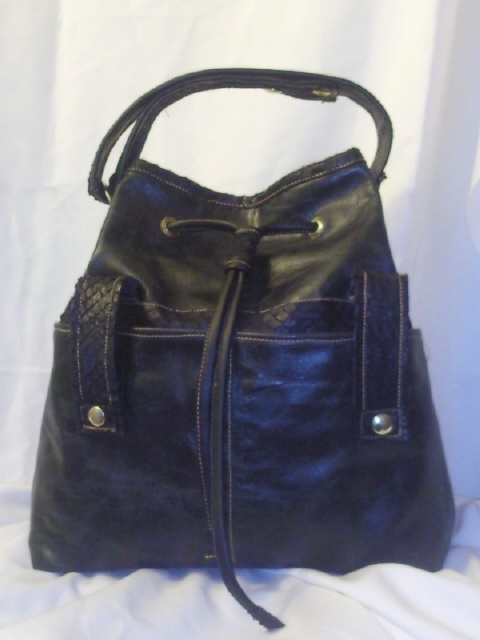 leather and python barrel bag..front