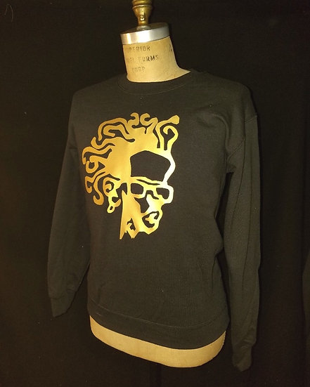 black and gold medusa crew sweatshirt