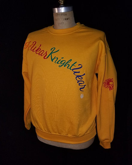 gold and multicolor crewneck sweatshirt