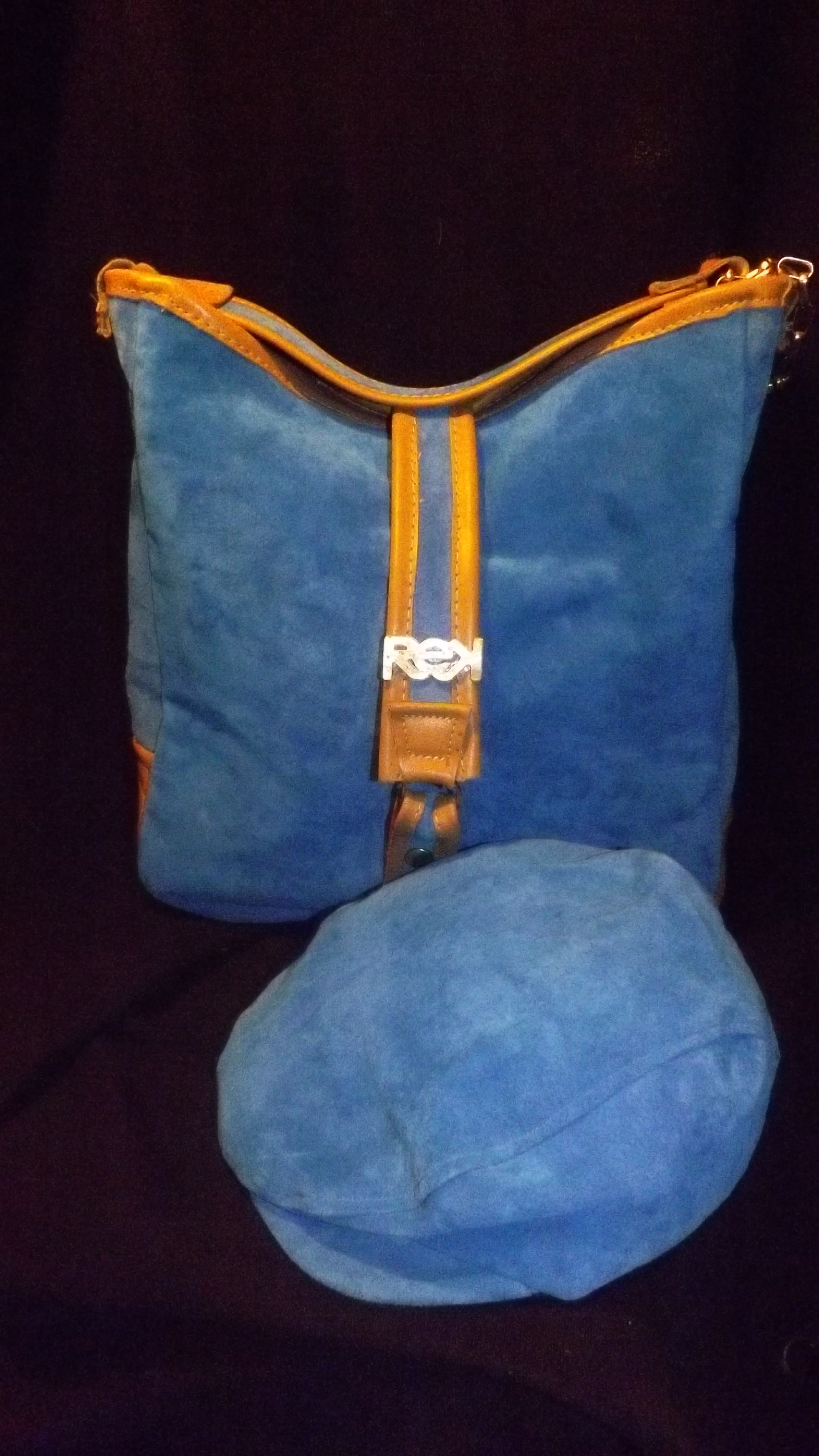 blue suede /leather hobo w suede cap